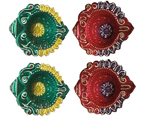 Clay Multi color Painted Diwali Diya Set of 4