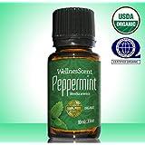 WellnesScent Natural Pure Undiluted Premium Therapeutic Grade Essential Organic Peppermint Oil, 0.33 fl. oz.