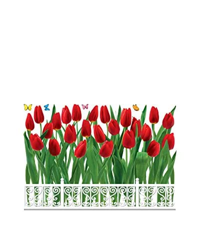 Ambiance Live Wall Decal Tulpen omheining veelkleurige