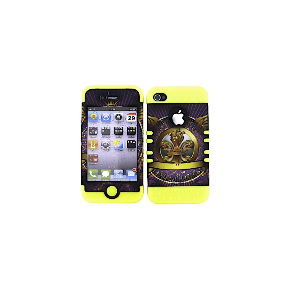 SHOCKPROOF HYBRID CELL PHONE COVER PROTECTOR FACEPLATE HARD CASE AND YELLOW SKIN WITH MINI STYLUS PEN. KOOL KASE ROCKER FOR APPLE IPHONE 4 4S SAINTS FLEUR YE TE373