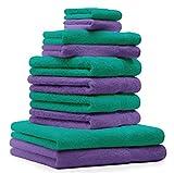 Betz 10 Pezzi. Set di asciugamani 2 asciugamani da doccia, 4 asciugamani, 2 asciugamani per ospiti, 2 guanti da bagno 100% Cotone Premium colore verde smeraldo e lilla - Best Reviews Guide