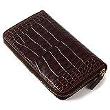 (ラファエロ) Raffaello 一流の革職人が作る クロコダイルレザーを再現したラグジュアリーなメンズラウンドファスナー長財布 本革 メンズ財布 ラウンドファスナー メンズ長財布(インペリアルチョコ)