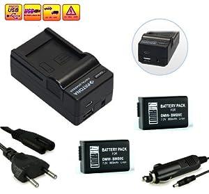 LOOkit Set: 4in1 Chargeur + 2x LOOKit Batterie pour Canon BMB9- LI-ION -- Pour Panasonic Lumix DMC FZ70 / FZ72 / FZ150 / FZ60 / FZ62 / FZ45 / FZ48 / FZ100 par exemple Leica V-LUX 3