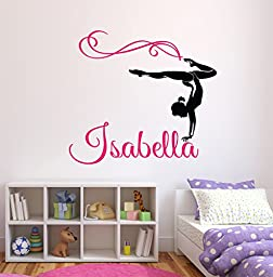 Custom Gymnastics Name Wall Decals - Girls Kids Room Decor - Nursery Wall Decals - Wall Decor for Teen Girls (32Wx28H)