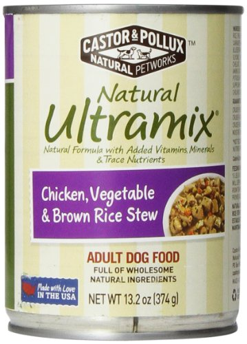 Castor & Pollux Natural Ultramix Chicken, Vegetables And Brown Rice Stew Adult Dog Food, 13.2 Ounce Cans (Pack Of 12)
