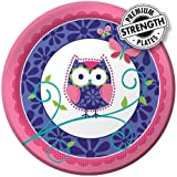 Creative Converting Owl Pal Round Dinner Plates, 8 Count