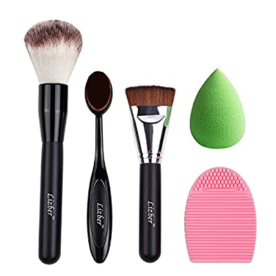 Makeup Brush, Oval Toothbrush Curve Foundation Brush, Flat Contour Makeup Brush, Brush Cleaner Washing Brush Glove Scrubber Board, Flawless Cosmetic Sponge Puff - 5 PCS Makeup Tools By Lizber