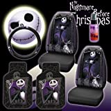 New 6 Pieces Disney Nightmare Before Christmas Jack Skellington Graveyard Car Auto Accessories Interior Combo Kit Gift Set - Front Floor Mats, Seat Cover, Steering Wheel Cover and Travel Size Purple Slice