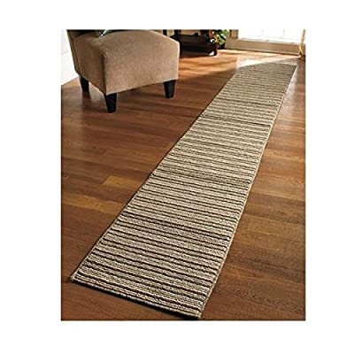 NEW 20 X 120 Sand Colored Striped Extra Long Nonslip Floor Runner Rug *MADE IN USA*