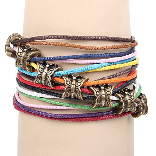 Winter's Secret 7 Colour Wax Rope Multi Strand Ancient Bronze Butterfly Lobster Clasp Bracelet