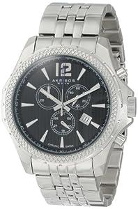Akribos+XXIV Akribos XXIV Men's AK662SSB Ultimate Swiss Chronograph Black Dial Stainless Steel Bracelet Watch