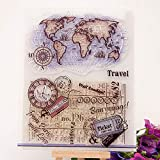GIMITSUI Store Travel Map's Clear Silicone Stamp (Color: Clear, Tamaño: World Map)