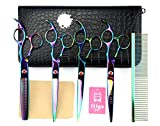 LILYS PET 7inch Professional PET DOG Grooming scissors Cutting&Curved&Thinning shears