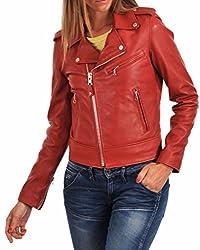 Syedna Red W Leather Omen B Iker Ja Cket