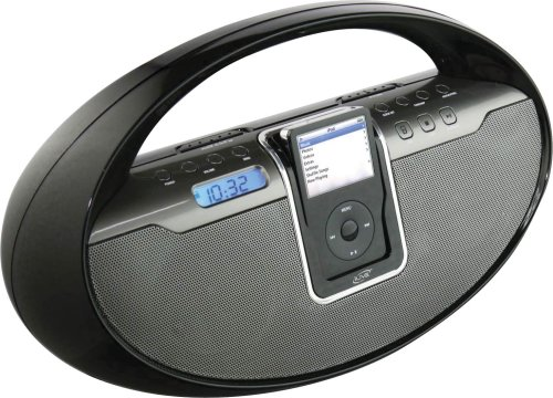 iLive IBCD2817 Portable Boombox with CD Player, AM/FM Radio, Remote Control, and iPod Dock (Black)
