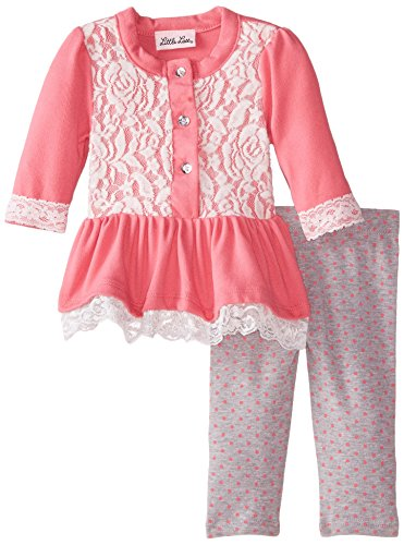 Little Lass Baby-Girls Newborn 2 Piece Legging Set Brushed Knit Floral Lace, Pink, 6-9 Months