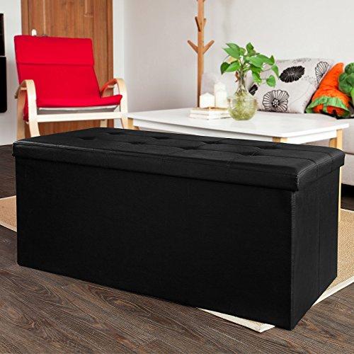 SoBuy® FSS27-EL-SCH XXL Cube Pouf Dé Pliable Coffre Banc Tabouret Boîte de Rangement(110x48x48cm, Noir)