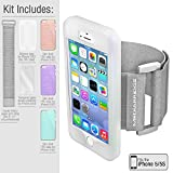 Mediabridge Sport Armband Value Pack for iPhone 5 / iPhone 5S - Includes 3 High-Gloss Slim Shell Cases (Pink, Purple and Teal), 1 Silicone Case, 1 Premium Tempered Glass Screen Protector & 1 Elastic Velcro Strap for Upper Arms (Clear)