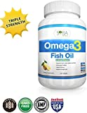 Omega 3 Lemon Flavored Fish Oil Supplements - 120 High Potency, Triple Strength (650mg DHA + 860mg EPA Per Serving) 1300mg Essential Fatty Acids Softgels - Molecularly Distilled, Heavy Metals and Toxins Free - Supports Heart, Brain, Skin, Eyes - Best Healthy Alternative for Joint Pain and Inflammation - NO Fishy Burps or Fishy Aftertaste - Made in USA - 30 Days 100% Money Back Guarantee!
