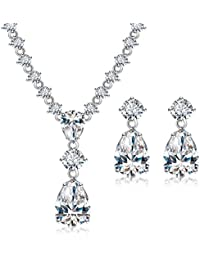 Via Mazzini White Gold Plated Top Quality AAA Swiss Cubic Zirconia Necklace Earrings Set For Women (NK0482)