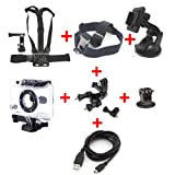 Go Pro Hero 2 7in1 Accessory Bundle--Protective Side Opening Case Skeleton Housing with Lens/Adjustable Head Strap Mount/ Suction Mount Holder/Chest Mount Harness With Direct Extension Arm Mounts/Bicycle/Bike Handlebar Bar Seatpost Pole Mount /Tripod Cam