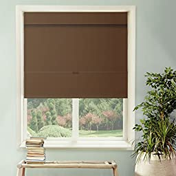 Chicology Cordless Magnetic Roman Shade, Room Darkening Fabric, Thermal, Mountain Chocolate, 36\