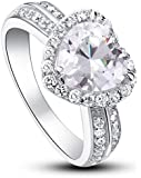 Exquisite Rhodium Plated 925 Sterling Silver Shoulder Heart Cut Solitaire 2ct CZ Crystal Anniversary Engagement Wedding Designer Fine Ring with PreciousBags Dust Bag