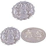 GS MUSEUM Silver Plated Rani Kumkum Plate 2 Sets And Silver Plated Mini Ganesh Laxmi Set