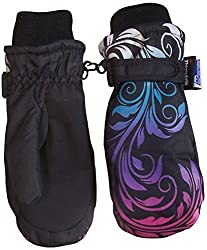 N'Ice Caps Girls Multi Shaded Scroll Print Thinsulate And Waterproof Mitten (3-4yrs, black/silver grey/neon blue/neon purple/neon pink)