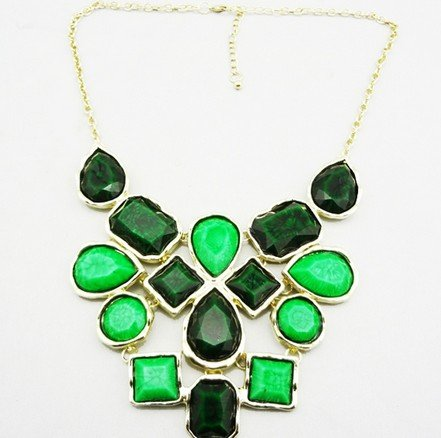 Green Option Geometry Colorful Resin Stones Statement Necklaces(wp-49)