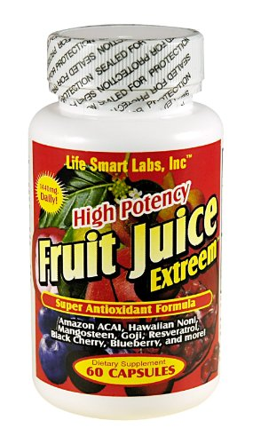 Fruit Juice Extreem TM HIGH POTENCY 60 Capsules Amazon ACAI Berry, Blueberry, Goji Berry, Mangosteen, Hawaiin Noni, Black Cherry, Resveratrol, and more, Fruit Juice Extreme