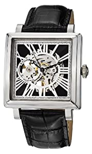Stuhrling Original Men's 389.33151 Classic Winchester Chariot Square Automatic Skeleton Silver Tone Watch Set