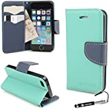 Madcase Apple iPhone 5S / 5 Case Teal & Blue Italian Diary Design Premium Faux Leather Wallet Credit cards flip cover