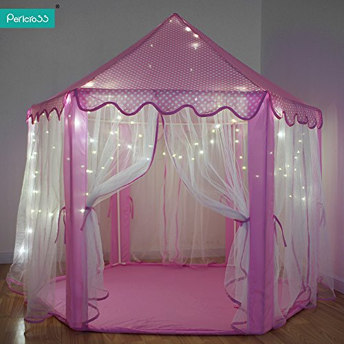 pericrossr-kids-fairy-princess-castle-tents-hexagon-girls-playhouse-with-a-string-of-100-led-lights-