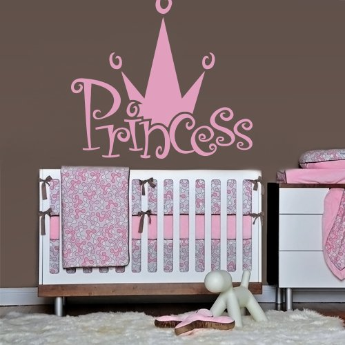 Wall Decal Decor Decals Princess Crown Nursery Inscription Letter Cartoon Cheerful Girl Story (M607) front-552210