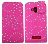 Gr8value MAGNETIC PU LEATHER PLAIN, GLITTER & PRINTED PATTERN FLIP CASE COVER WALLET POUCH + FREE STYLUS (NOKIA LUMIA 610 pink glitter flip case)