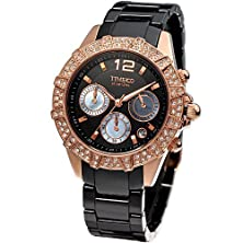 buy Time100 Diamond Three-Subdial Multifunction High-Tech Ceramic Black Dial Ladies Watch #W50056L.03A