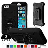 iPhone 6 Plus Case - Fintie Commander Series Three Layer Hard Shell Cover Holster with Built-in Rotating Stand and Belt Swivel Clip for Apple iPhone 6 Plus (5.5), Black