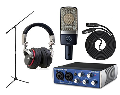 Akg C214 Large-Diaphragm Microphone With Presonus Audiobox Usb, On Stage Boom Mic Stand, Lyxpro 25' Black Quad Cable Xlr M/F, Lyxpro Professional Studio Headphones Features Detachable Cables