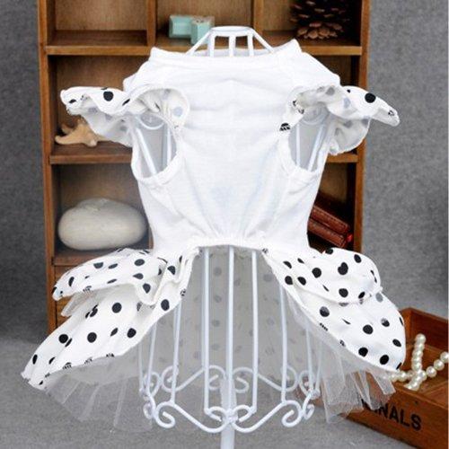 Pet Apparel Dog Princess Dress Fashion Polk Dot Style Well Made Dog Dresses Small Dog White Wedding Dress (S)