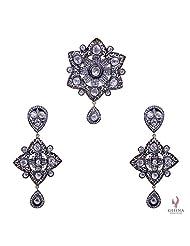 Gehna White Sapphire Rose Cut Polki Gemstone Studded Pendant & Earrings Set In Silver