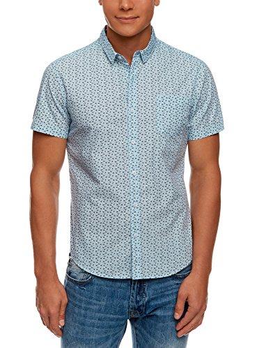 oodji Ultra Uomo Camicia Stampata a Maniche Corte, Blu, XL / EU 56 (IT 60)