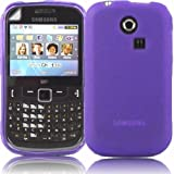 Gel Shell Case Cover And Screen Guard For Samsung Ch@t Chat 335 S3350 / Purple