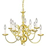 10-light Polished Brass Williamsburg-style Interior Chandelier