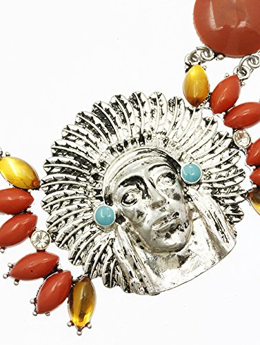 Coral Red Bib Native American Chief Necklace And Earring Set Fashion Jewelry And Accessory Beautiful Charms