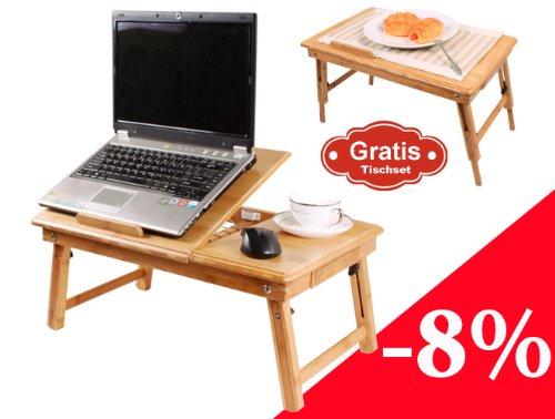 table de lit pliable pour pc portable notebook double plateaux en bambou fbt04 ameublement. Black Bedroom Furniture Sets. Home Design Ideas