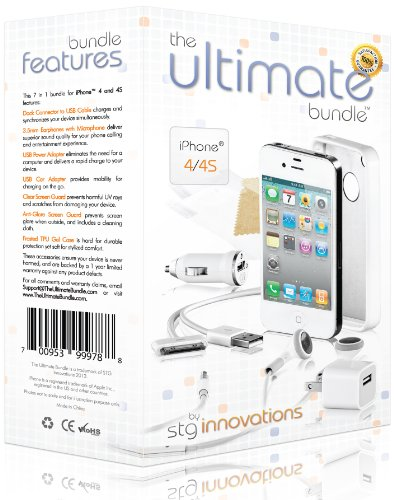 The Ultimate Bundle For Iphone 4 / 4S - White - 7 In 1 Accessory Kit - Gift Packaging