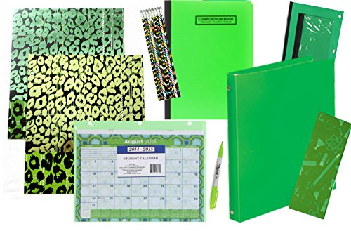 16 Pc All Green Everything Back to School Supplies Set