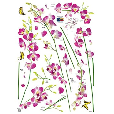 Nursery Easy Apply Wall Sticker Decorations - Orchid Tree Branch Stem Flower Butterfly