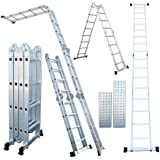 330 Lb 15.5 Ft Step Platform Multi Purpose Aluminum Folding Scaffold Ladder